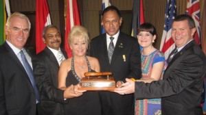 CSI President, Alex MacDonald; Divisional Commissioner: Detective Service, Lieutenant-General Vinesh Moonoo; Crime Stoppers Barbados Chairwoman, Julie Dash, Head of Crime Line and CSI Vice-President, Yusuf Abramjee; Crime Line Coordinator, Marisa Oosthuizen and Crime Stop Station Commander, Colonel Dr Attie Lamprecht.