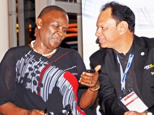 National Police Commissioner Riah Phiyega and Crimeline head Yusuf Abramjee at the opening of the Crime Stoppers Conference. Photo: Ross Jansen